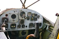 Old helicopter dials. On white background royalty free stock photo
