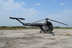 Old helicopter spraying fields. Helicopter spraying fertilizer royalty free stock photography