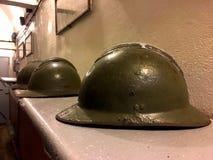 Old helmet during world war 2, Maginot Line Ouvrage Schoenenbourg Alsace Francein 2016 Stock Photos