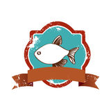 Old heraldic borders with fish and label Stock Photography