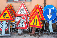 Old herded road signs Stock Photography