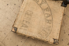 Old Hessian Fabric With The Farmers Cereals Stamped Upholstery B Stock Photos