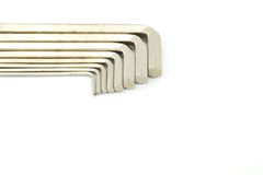 Old hex keys. Set of hex keys use for minor repair arranged on white background Stock Photos