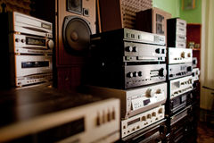 Old hi-fi receivers and tape deck recorders Stock Photo