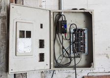 Old High voltage cabinet. On concrete wall Royalty Free Stock Image