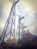 Old high voltage power lines Stock Photo