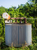 Old High-voltage power transformer. In substation royalty free stock photo