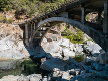 Old Highway 49 bridge over the Yuba River. Old bridge over the Yuba River, Highway 49 in California Stock Images