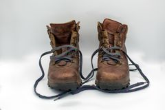 Old hiker boots in heaven royalty free stock images
