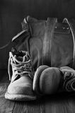 Old hiking boots Stock Images