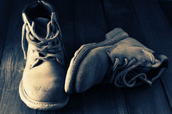 Old hiking boots Stock Photography