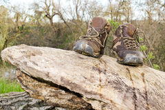 Old hiking shoes Royalty Free Stock Photos