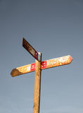 Old hiking signpost royalty free stock photography