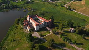Old hill castle aerial stock video footage