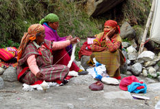 Old himalayan women in colorful clothes on the str Stock Photography