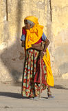 Old Hindu Woman in India, Colorful Clothes, Clothing Royalty Free Stock Images