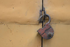 Old hinged lock Royalty Free Stock Photo