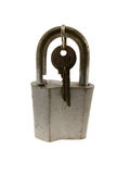 The old hinged lock with a key Royalty Free Stock Images