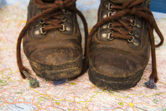 Old hinking boot map Royalty Free Stock Images