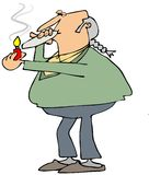 Old hippie smoking a joint Royalty Free Stock Photos