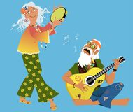 Old hippies. Old hippie couple playing guitar and dancing, EPS 8 vector illustration Royalty Free Stock Photo