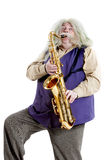 Old hippies saxophonist Stock Photo