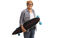 Old hipster holding a longboard Stock Photos