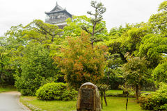 Old Hiroshima casle in Japan, on Otagawa river in summer. Stock Images