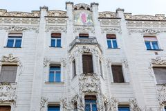 Old historic apartment house. Architectural elements, patterns, ornaments and tile painting of building in Budapest. stock photography