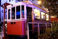 Tramcar Tearoom, Galata, Beyoglu Istanbul. Old Historic Beyoglu Red Tramcar Modified to Tearoom in Galata, Beyoglu Istanbul Turkey Stock Photography
