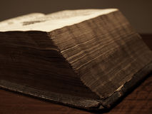 Old historic book. Very old bible with a leather back Royalty Free Stock Photos