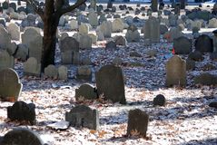 Old Historic Boston Cemetary. Old Boston Cemetary in the Winter Stock Image