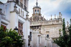 Old historic building in center of Seville, Spain Royalty Free Stock Images