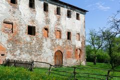 Old historic building is ruined , devastated and ravaged. Former capuchin monastery, Fulnek, Czech Republic / Czechia - old historic building is ruined royalty free stock images