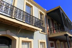 Old, historic buildings with beautiful railings,downtown New Orleans, 2016 Royalty Free Stock Photography