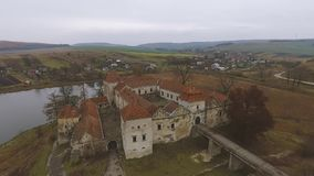 Old historic castle. In Ukraine. Svirzhskuy castle stock video footage