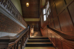 Old Historic Chapel Staircase. Old Historic Chapel Wooden Staircase with Wood Wainscoting Stock Photography