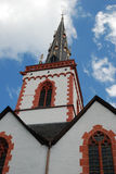 Old historic church and spire in Ediger Germany. Historic church and spire in Ediger Mosel Germany Stock Photo