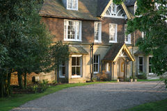 Old Historic English Vicarage with gravel drive stock images
