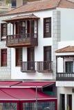 Old historic facade. With balcony in Puerto de la Cruz, Tenerife, Canary Islands, Spain Stock Images