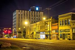 Old historic jackson mississippi city street skyline at night royalty free stock images