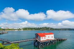 Old historic lifeboat station and slipway at Tenby in Wales. Stock Photos