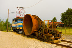 Old historic mining equipment on display at flin flon Royalty Free Stock Images