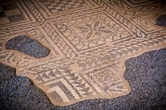 Old historic mosaic in the roman ruins of Merida stock images