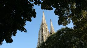 Old Historic Neo Gothic Votiv Church With Leaves Stock Images