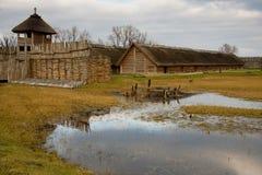 Old historic polish cottage - Biskupin stock images