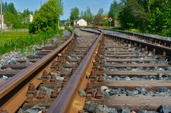Old rusty railroad tracks. Perspective view royalty free stock photography