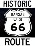 Old historic Route 66 sign. Stock Photo
