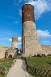 Old historic ruins of the royal castle. A stronghold from middle ages in central Europe. Checiny, swietokrzyskie / Poland - May, 1, 2019: Old historic ruins of royalty free stock photography