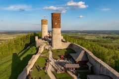 Old historic ruins of the royal castle. A stronghold from middle ages in central Europe. Checiny, swietokrzyskie / Poland - May, 1, 2019: Old historic ruins of stock photography